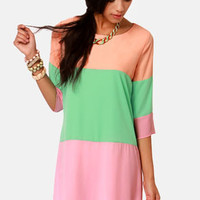 Citrus Grove Peach Color Block Shift Dress