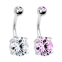 BodyJ4You® Belly Button Ring Big Cubic Zirconia Crystal Clear Pink 14G with 1 Belly Retainer