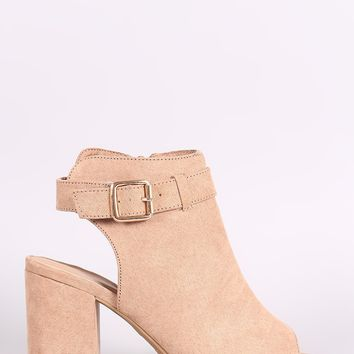 Bamboo Suede Buckled Ankle Strap Chunky Mule Ankle Boots