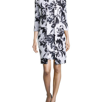 Abstract Floral-Print Jacket & Dress, Black/White, Size: