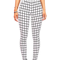 Grid Line Legging Pants