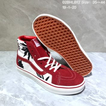DCCK2 V061 Vans SK8-HI Reissue Canvas Suede Palm Tree Graffiti High Upper Board Shoes Red