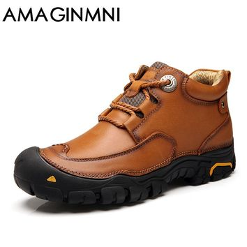 AMAGINMNI Shoes Men's Winter Leather Men Waterproof Rubber Boots Leisure Boots England Retro Shoes For Men Outdoor leisure shoes