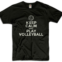 Keep Calm And Play Volleyball Men Women Ladies Funny Joke Geek Clothes T shirt Tee Gift Present