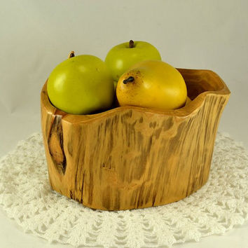 Wood Bowl - Rustic Cedar Wood - Hand Carved - Primitive Functional Folk Art