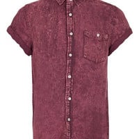 Wine Crackwash Short Sleeve Denim Shirt - Sale Shirts - Sale
