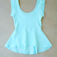 Sky Blue Flared Peplum Top [7036] - $32.00 : Feminine, Bohemian, & Vintage Inspired Clothing at Affordable Prices, deloom