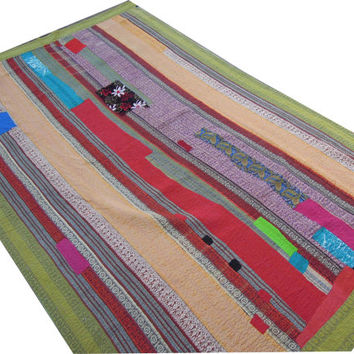 Authentic Vintage Cotton Sari Kantha Quilt Quilted Patchwork Bedspreads,Throws,Ralli,Gudari Handmade Tapestery Bedding