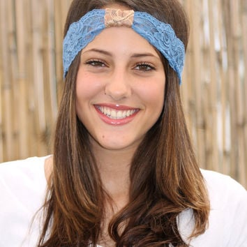 Blue Lace Headband with Beige lace wrap, Elastic Headband, Women Hair Accessories, Stretchy Head Band, Turban Head Wrap, Handmade Headband