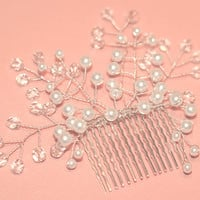 Pearl Crystal Bridal Hair Comb, Wedding Hairpiece, White Ivory Brides Hair Piece