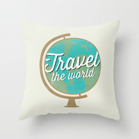 Travel the world - Globe design Throw Pillow by Allyson Johnson