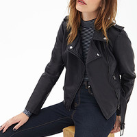 FOREVER 21 Belted Faux Leather Moto Jacket Black