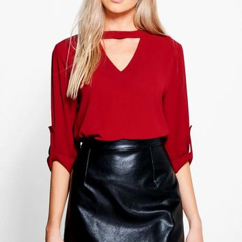 Keeley Cut Out Woven Top | Boohoo