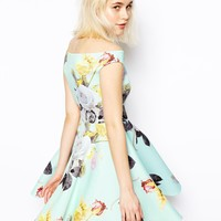 ASOS Mint Floral Bardot Skater Dress