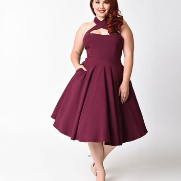 Unique Vintage Plus Size 1950s Style Purple Criss Cross Halter Flare Rita Dress