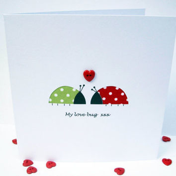 Valentine Card - Love Bugs - Funny Card - Paper Cut Valentine's Day Card - Handmade Greeting Card - Anniversary Card - Romantic - EtsyUK