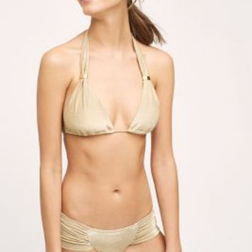 Ondademar Triangle Bikini Bikini Top in Gold Size: