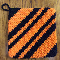 1 Orange & black cotton pot holder, hot pad, double thick, Halloween, fall, gift idea, SF giants,  game prize, hand crochet, handmade, gift