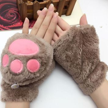 Women's autumn and winter Coral Fleece gloves lovely cartoon bear paw flip cover glove winter warm mitten R118