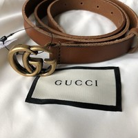 One-nice™ 100% Authentic NEW Gucci Double G Belt 409417 Brown Marmont Womens size 90