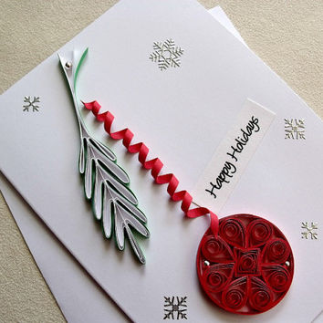 handmade paper quilled Christmas card – Merry Christmas ornament