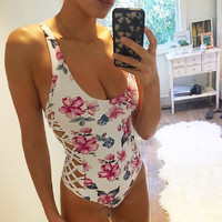 Summer Style Beautiful Floral Print Sexy Women One Piece Strappy Swimsuit Swimwear Bathing Monokini Push Up Padded High Quality