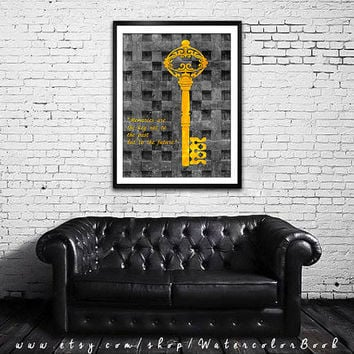 Gold key art, Ornate old key Illustration, Art print, quote poster, Gift, Wall art, Vintage poster, golden key quotes , Key painting, Key 4