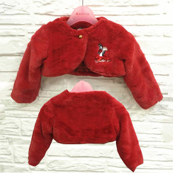 Hot Sales White Red Girls Jackets and Coats Winter Faux Fur Long Sleeves Kids Baby Girl Coats Fashion Flower Girl Bolero 1679P