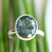 London Blue Topaz In Sterling Silver Ring Made by louisagallery