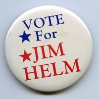 "Vote For Jim Helm Republican Political Campaign Button 1-1/4"" Diam"