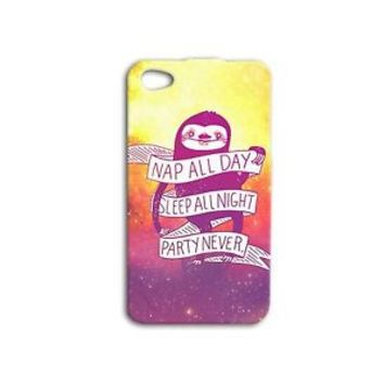 Nap All Day Party Never Cute Sloth Quote Funny Case iPhone iPod Phone Cover Cool
