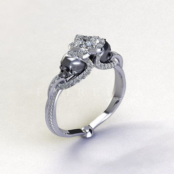 Half Carat Princess Cut Diamond Vapor Gunmetal Skull Engraved Engagement Ring