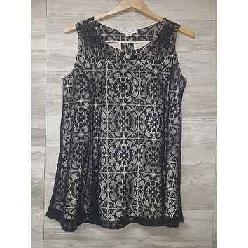 Layered Lace Shift Dress in Black