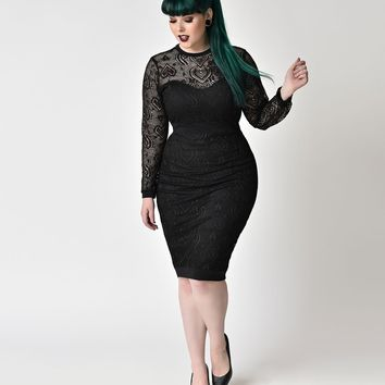 Vintage Style Plus Size Black Lace Long Sleeve Wiggle Dress