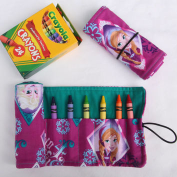 Crayon Roll Anna and Elsa, Crayon Holder Frozen, Birthday Party Favor 16 Crayola Crayons Included,