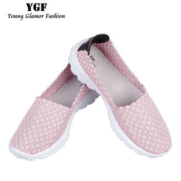 YGF Flats Women Shoes 2017 Summer Breathable Women Loafers Fashion Slip on Casual Shoes Women Female Footwear Woven Shoes