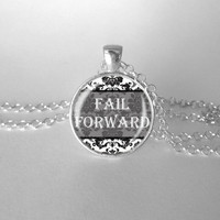 Inspirational Fail Forward Floral Necklace Motivation Optimism Positivity Success Learn from your Mistakes Onward