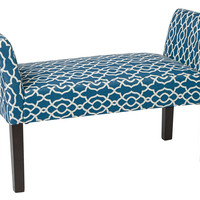 Ave Six Kelsey Bench with Dark Espresso Legs and Abby Geo Blue Fabric