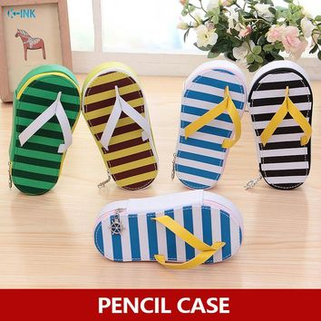 Novelty Canvas Fabric Slipper Pencil Case , Stripe and Animal Slipper Pencil Case for School Kids as Writing Stationary Supplies