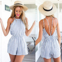 Stripes Printed Backless Jeans Sexy Erotic  Romper Shorts Trousers Pants _ 573
