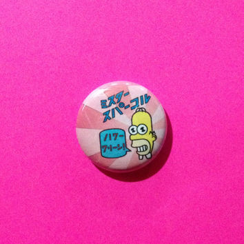 """Simpsons Homer Mr. Sparkle Pin Pinback Button // 1 Inch 1"""" Badge Gift Idea // 1990s 90s TV Show Comedy Animated Classic Animation"""