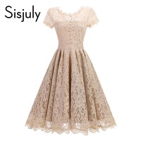 Sisjuly vintage 1950s dress spring lace a-line women summer party dress o-neck balck blue a-line elegant vintage female dresses