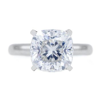 **NEW Cushion First Crush FAB Moissanite 4 Prongs FANCY Solitaire Ring