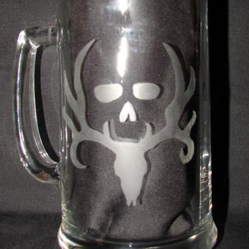 Bone Collector Buck Rack Deer Hand Etched on Beer Mug or Pint Glass