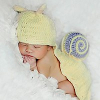Yellow Snail Knit Hat Outfit Newborn Photo Prop - CCA51