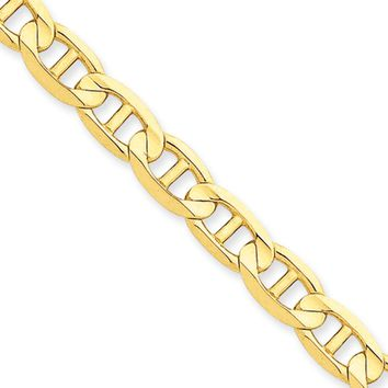 Men's 7mm, 14k Yellow Gold, Concave Anchor Chain Necklace, 24 Inch