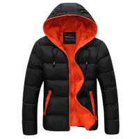 Winter Men Jacket 2017 New Brand High Quality Candy Color Warmth Mens Jackets And Coats Thick Parka Men Outwear XXXL UI