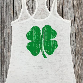 St. Patrick's Day Shamrock Womens Workout Tank Top. Irish Clover. Exercise Tank. Running Tank. Fitness shirt. Burnout Workout Tank. Marathon