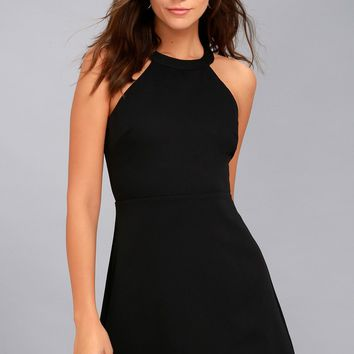 Mamacita Black Halter Skater Dress