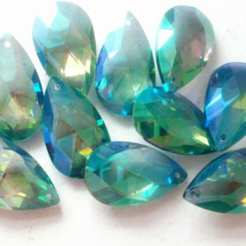 5 Teardrop Chandelier Crystals Iridescent Green Blue Shabby Cottage Chic 38mm Metallic Aqua Blue